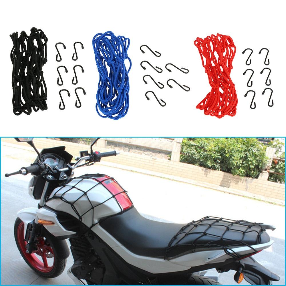 KKmonn Motorcycle Bike 6 Hooks Hold Down Fuel Tank Luggage Net Mesh Web Bungee Black Helmet Mesh Hot Sale