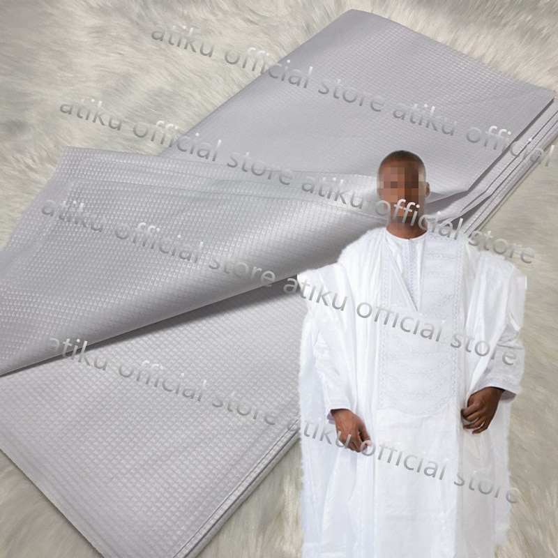 5 yards per piece good quality cotton Atiku White color brocade atiku for men garment