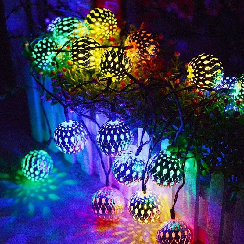 Lights String Hollow Morocco Ball Christmas Lights Led Iron Ball Battery Lamp Romantic Room Decoration