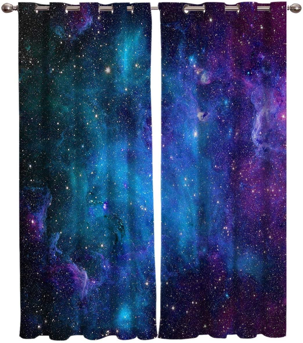 ستائر مجرة ونجمة وكون وسماء مرصعة بالنجوم وديكور للمطبخ وغرفة النوم وغرفة المعيشة