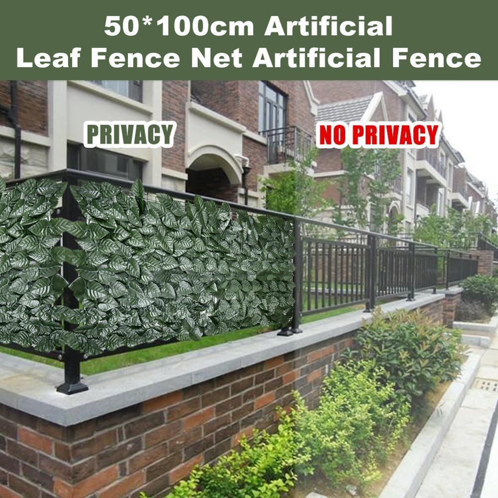 Puerta de cerca Artificial de 100x50cm cerca de planta de jardín Pantalla de privacidad de ratán decoración del hogar paredes de vegetación valla de jardín