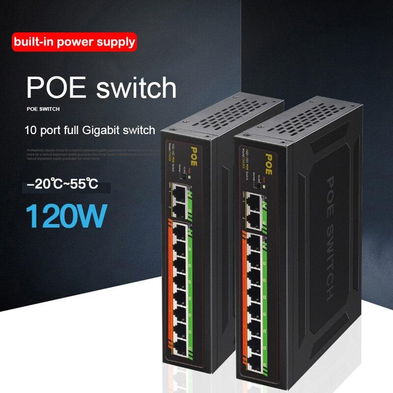 POE Gigabit Switch 8+2 Port 52V 120W ethernet network switch 100/1000Mbps Gigabit Uplinks for IP/POE camera/Wireless AP 250meter