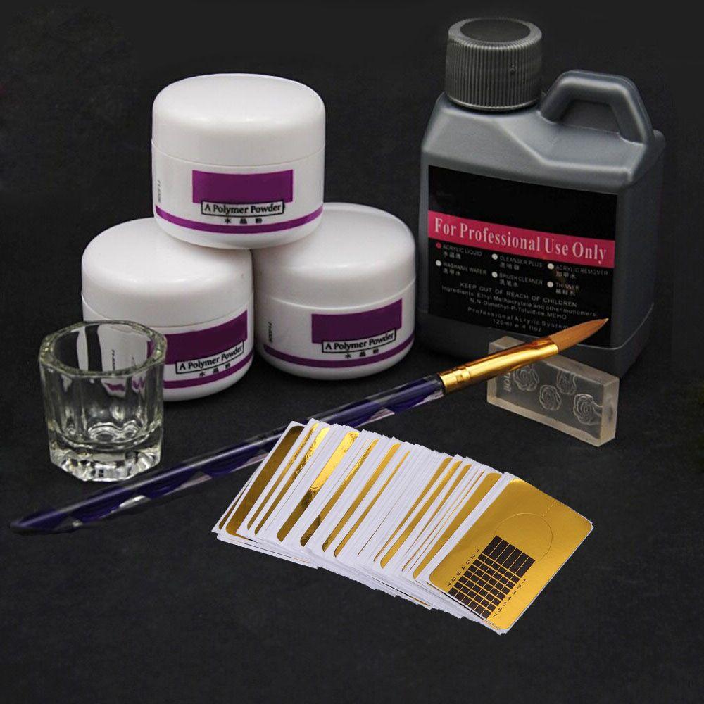 Set para uñas acrílicas en polvo, conjunto de 8 unidades de acrílico para colocar uñas postizas de cristal, incluye envases de polvo de acrílico, brocha aplicadora y Molde, requiere lámpara UV