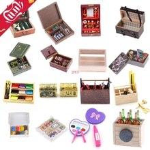 Boîte en bois de cuisine/beignet/peinture/médical/aiguille/bijoux/valise/boîte à outils/vin/maquillage/couture Miniature bricolage 1:12 accessoires