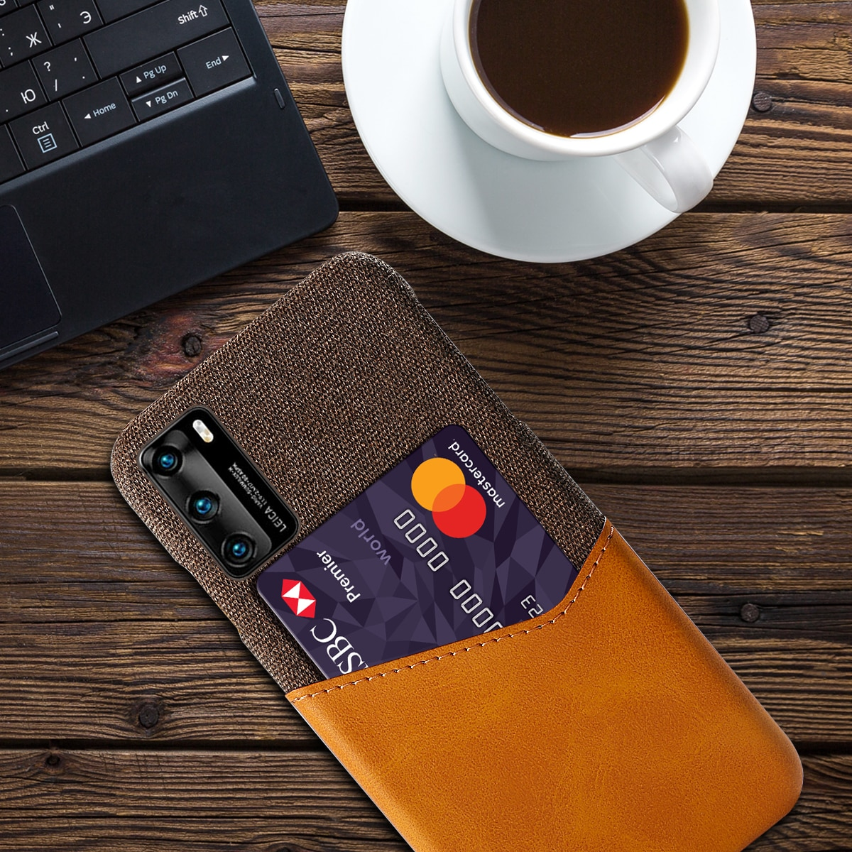 Anti-Scratch Case for Huawei P20 P30 P40 Pro Plus Lite Business Fabric +Leather Card Holder Fitted C