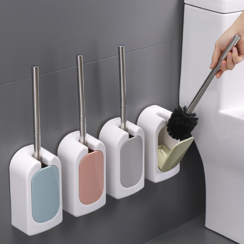 1 unidad de cepillo de limpieza de inodoro montado en la pared brocha para base de maquillaje cepillo de limpieza para WC accesorios de baño mango de acero inoxidable herramienta para el hogar