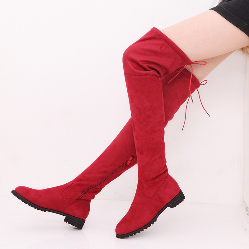 Botas largas de Invierno para mujer botas altas de gamuza negras/grises/Rojas botas de mujer