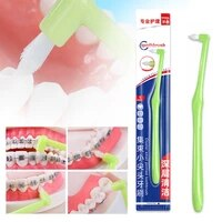 orthodontic toothbrush teeth braces pointed and flat head soft hair correction clean teeth gap floss oral hygiene oral care tool