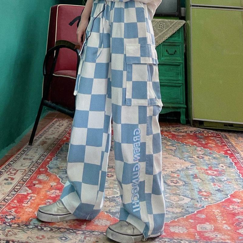 Свободные клетчатые женские брюки в стиле хиппи Харадзюку Y2k, мешковатые клетчатые брюки, уличная одежда, женские корейские модные брюки-ка...