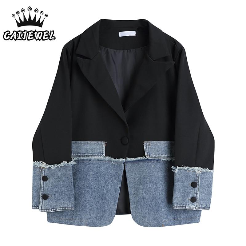 Уличная одежда, Модный женский Джинсовый блейзер в стиле пэчворк в Корейском стиле, дизайнерские мешковатые женские топы, черные куртки, ве...