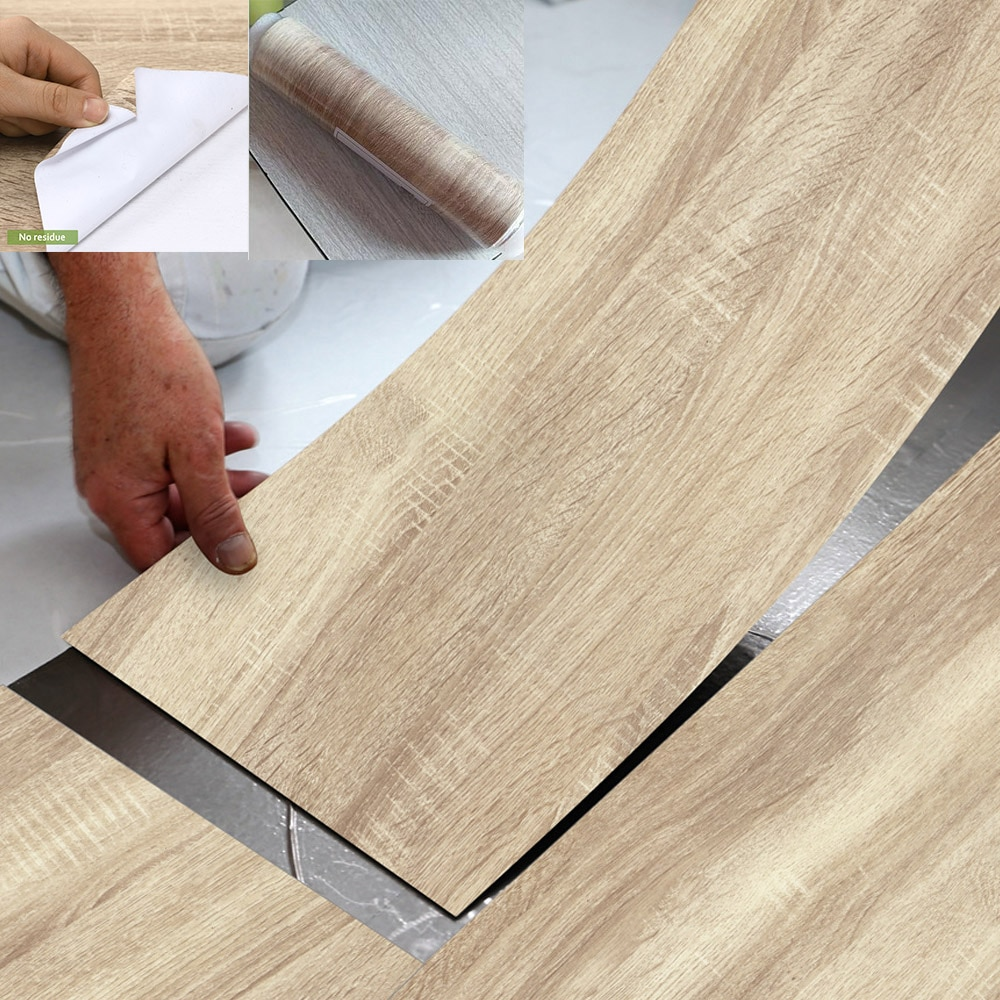 1PCS Modern Style Floor Stickers Wood Grain PVC Waterproof Self-adhesive Bedside Wall Decoration Wal
