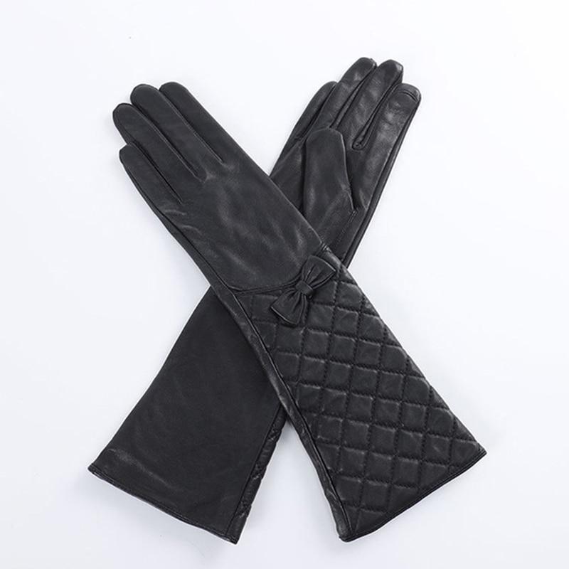 Модные женские модные перчатки из овечьей кожи, женские кожаные варежки с бантом, женские элегантные длинные стильные перчатки S2402