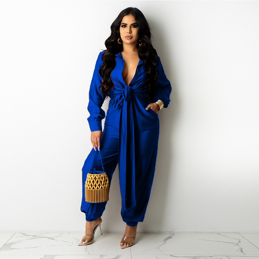 Bulk Items Wholesale Lots Women's Long Jumpsuit Button-up Ruched Long Sleeve Turn Down Collar Loose Romper One Piece Overalls enlarge