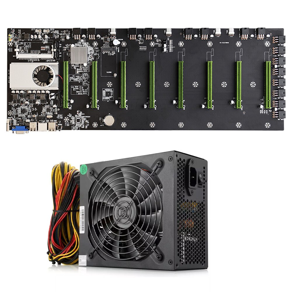 BTC-D37 مينر اللوحة الأم وحدة المعالجة المركزية مجموعة 8 * PCIE 16X بطاقة جرافيكس فتحات DDR3 الذاكرة VGA + HDMI-متوافق + 1850 واط امدادات الطاقة