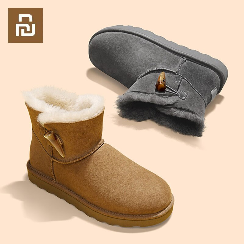 Youpin Qimian-أحذية جلدية للنساء ، أحذية شتوية للثلج ، أحذية دافئة ومريحة