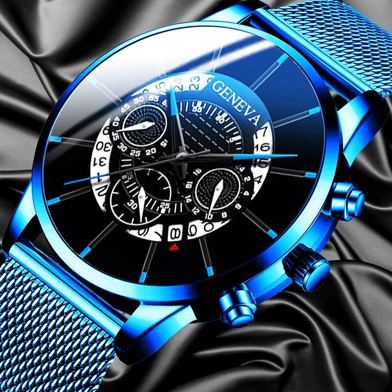 GENEVA Luxury Men's Watch Fashion Business Calendar Blue Stainless Steel Mesh Belt Analog Quartz Men Watch Men relogio masculino