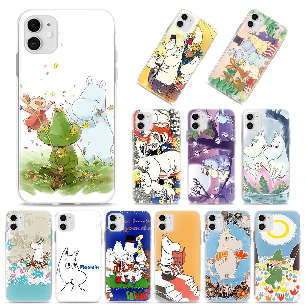 Funda de silicona para iPhone X XR XS MAX 11 Pro MAX 7 8 Plus 6 6S Plus 5S SE funda suave hipopótamo moomin Linda funda de animal