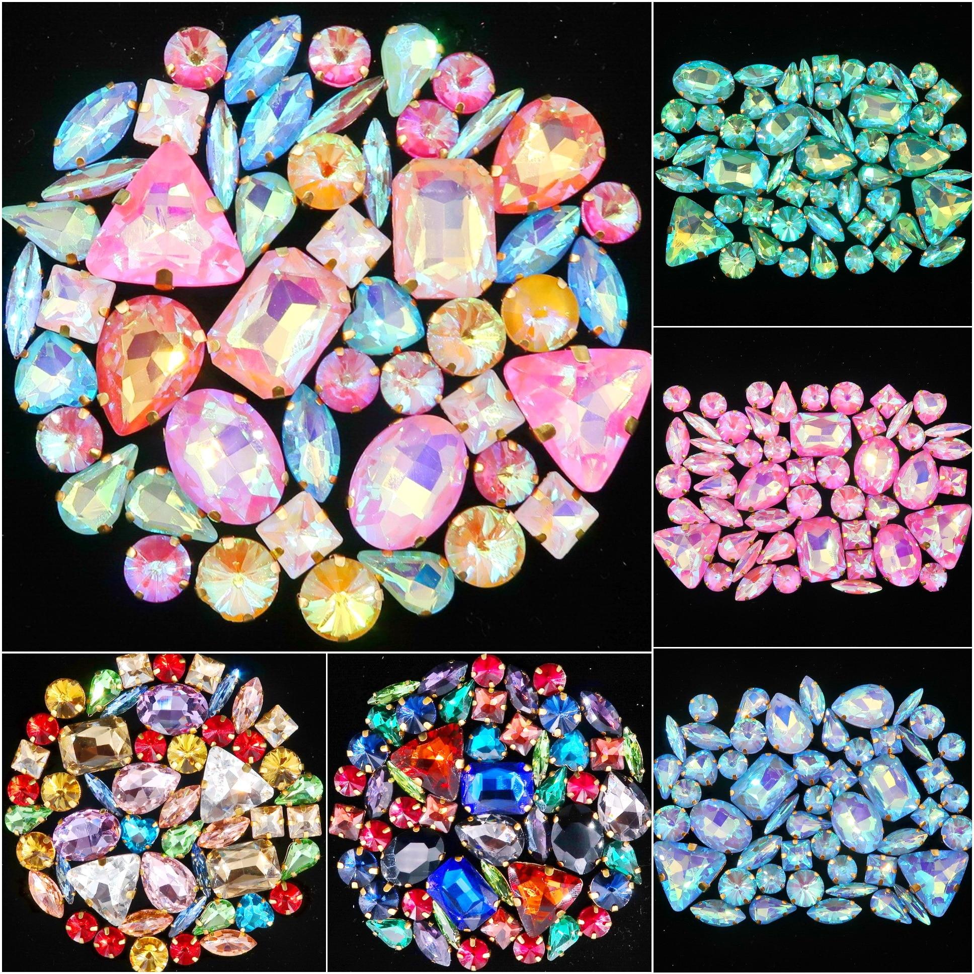 Набор золотых когтей, 50 штук/пакет, смешанные формы, прозрачные и желейные конфеты, AB, стеклянные кристаллы, пришитые Стразы, свадебные модельные туфли, сумки, сделай сам, отделка