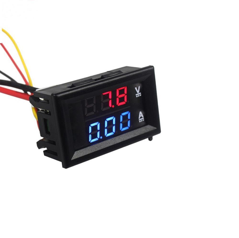 DC 100V 10A Mini Digital Voltmeter Ammeter Panel Amp Volt Voltage Current Meter Tester 0.56'' Blue + Red Dual LED Display
