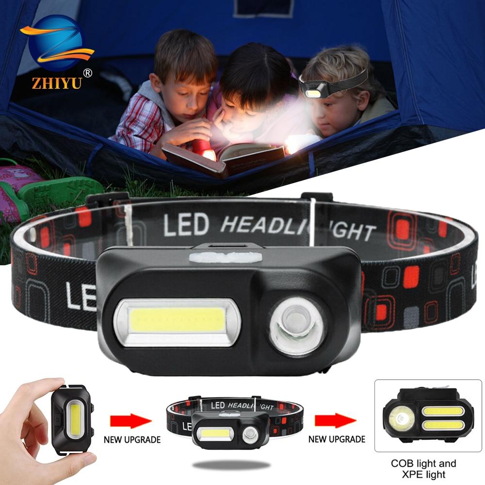 ZHIYU portátil Mini XPE + COB faro LED USB recargable Camping lámpara de la cabeza de pesca faro corriendo linterna antorcha