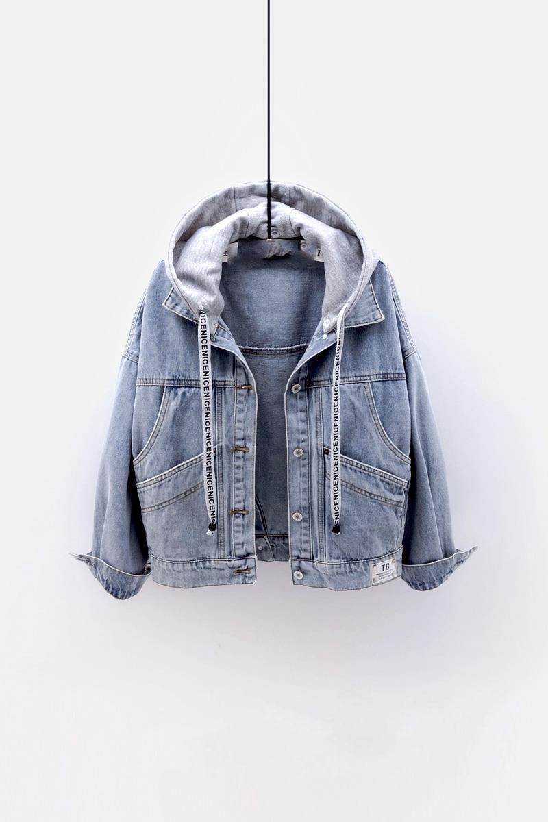 Женская джинсовая короткая куртка, свободная верхняя одежда большого размера, короткая джинсовая куртка бойфренда с капюшоном, топы с боль...