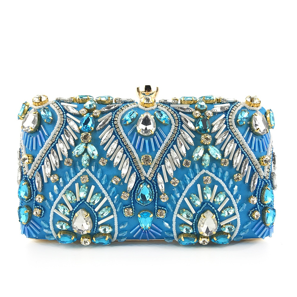 2020 fashion women Beaded blue evening clutch purse  banquet Satin female yellow handbag lady's shoulder messenger black bags