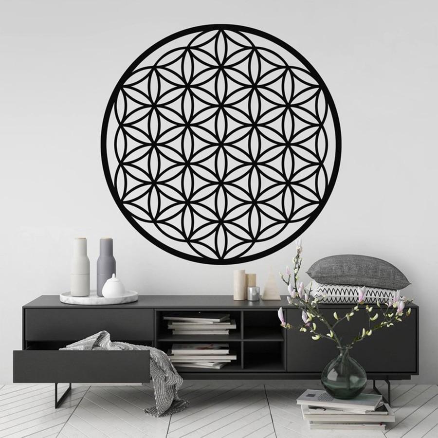 Flower Of Life Wall Art Sticker,Sacred Geometry BedRoom Decor Spiritual Symbol Removable Vinyl Decal Art Mural Home Decor 3141