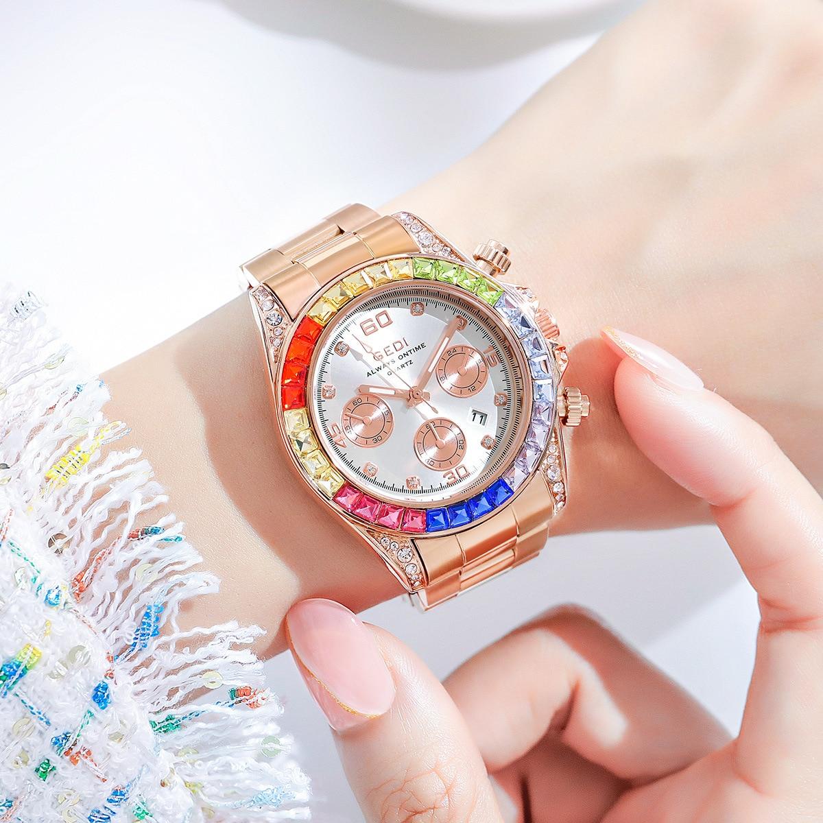 Luxury Man Watch Big Dial Women Waterproof Rose Gold Steel Strap Women WristWatches Top Brand Bracelet Clocks Relogio Feminino enlarge