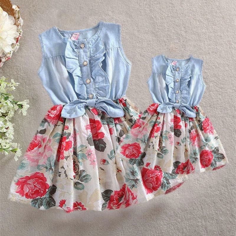 AliExpress - Summer Mother and Daughter Dresses Family Matching Clothes Women Kids Girl Ruffles Sleeveless Floral Dress Elegant Flower Outfit