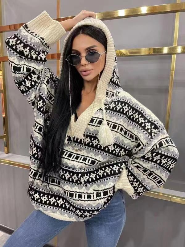 luxury design retro pattern fashion women's top long sleeve hooded Pullover temperament versatile slim fit wool knitted sweater enlarge