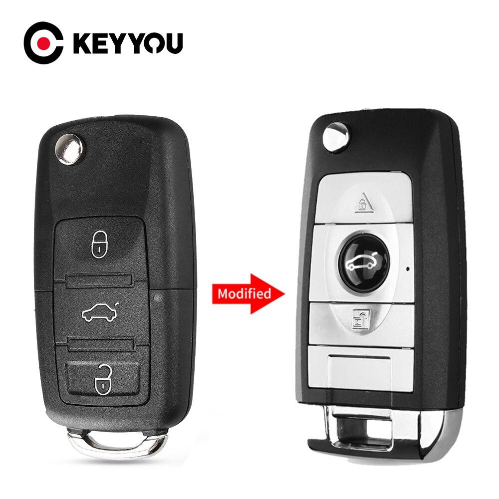 Keyyou modificado substituição da chave do carro para volkswagen vw polo passat b5 golf mk5 besouro 3 botões dobrável chave caso kit de reparo