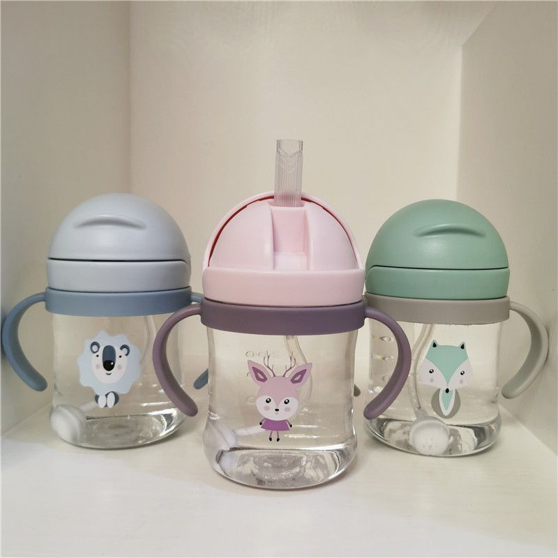 Drink Cup 300ml Children Cartoon Infant Scale Straw Cup Baby Handle Resistant Falling Water Bottle Ball Learning