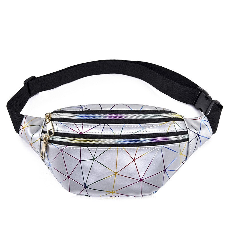 2020 hot Waist Bags Women Pink Silver Fanny Pack Female Belt Bag Black Geometric Waist Packs Laser Chest Phone Pouch Men