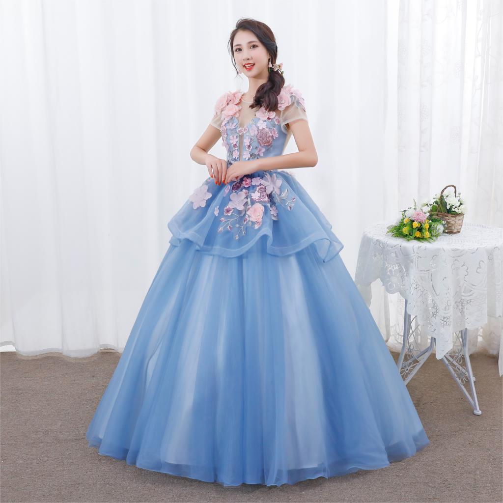 Dulce 16 Vestido apliques volantes Vestido de Quinceanera vestidos 2019 romántico de manga corta Debutante Vestido de 15 años
