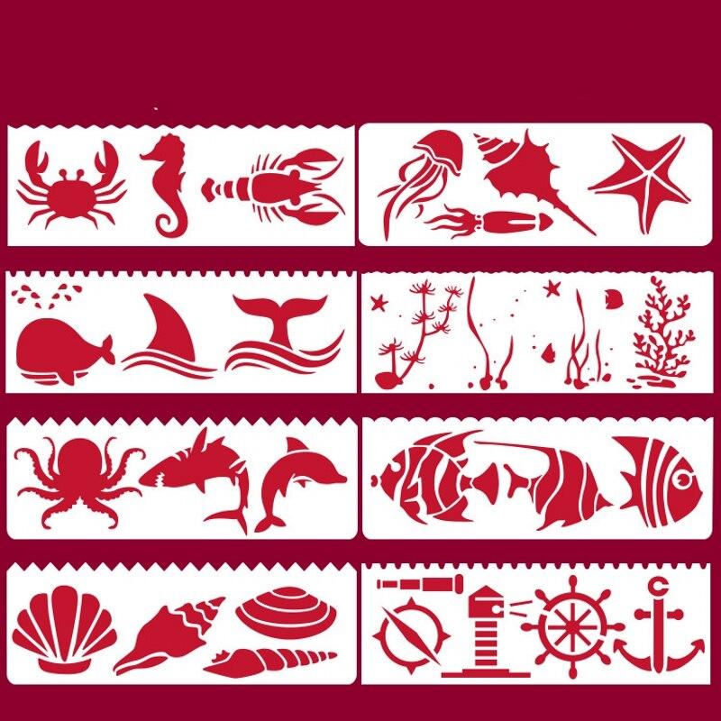 8 Uds 17*6cm Mar Animales del océano peces bricolaje capas plantilla para pintura libro de recortes colorear tarjeta decorativa en relieve para álbum plantilla