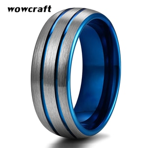 Men 8mm Tungsten Carbide Wedding Band Rings Blue Plated Fashion Ring Dome Edges Top Brush Finish Comfort Fit Personal Customize