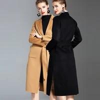 women double sided yellow black windbreaker wool cashmere overcoats winter woolen jacket high end long handmade outwear oversize