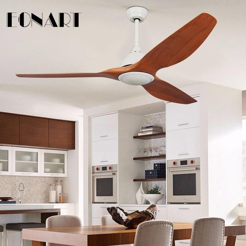 Ventilador de techo simple LED de 52 pulgadas con 3 colores, moderno ventilador de techo con control remoto de distribución de hoja de plástico con motor AC220V, luces de ventilador de techo para interiores