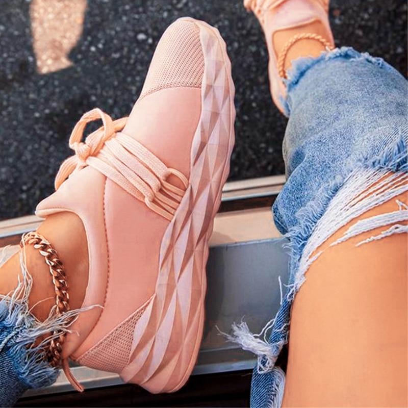 Fashion Sneakers Women Platform Flat Women's Sports Shoes Female Casual Breathable Vulcanized Woman Lace Up Footwear Big Size