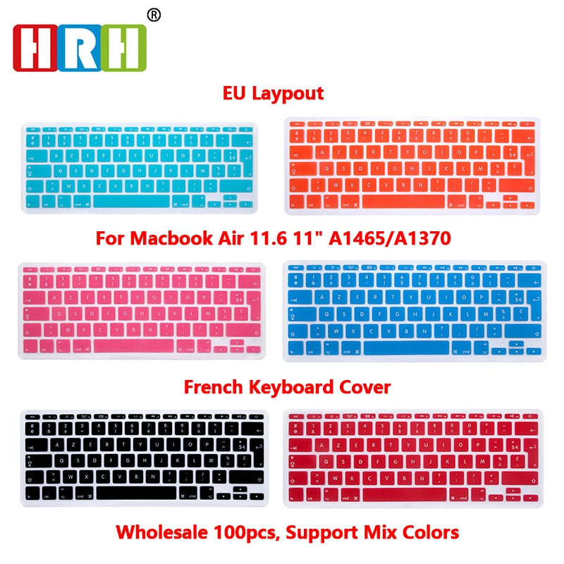 HRH High Quality Wholesale 100pcs AZERTY French Silicone Keyboard Cover Skin Protective Film for Macbook Air 11.6Inch EU Version