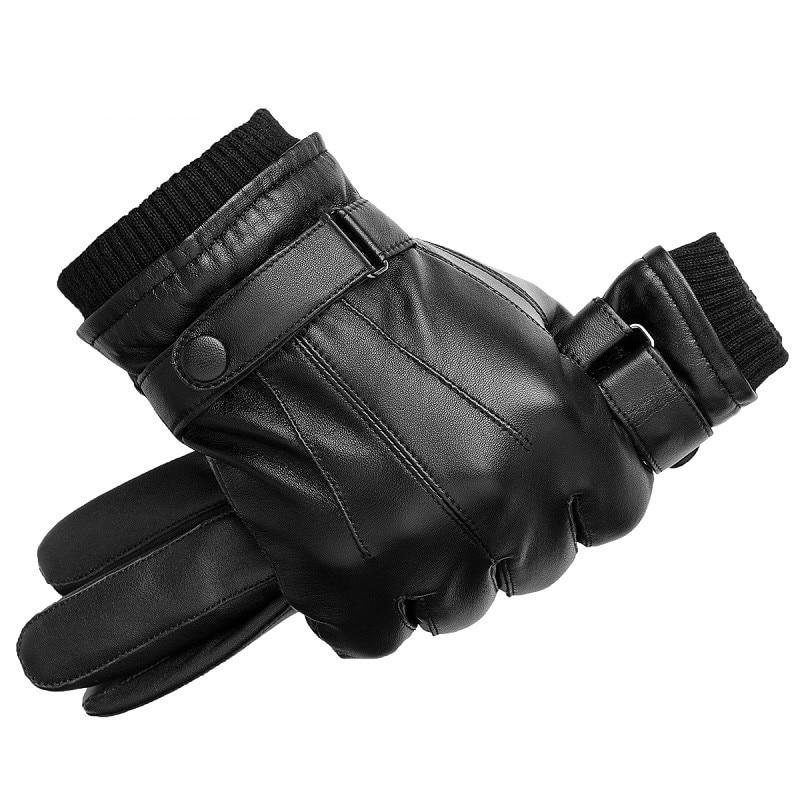 Men Genuine Sheepskin Leather Gloves Autumn Winter Warm Touch Screen Full Finger Black Gloves High Quality hand gloves winter stylish genuine leather touch screen gloves woman winter sheepskin gloves velvet lining warm telefingers gloves mlz012