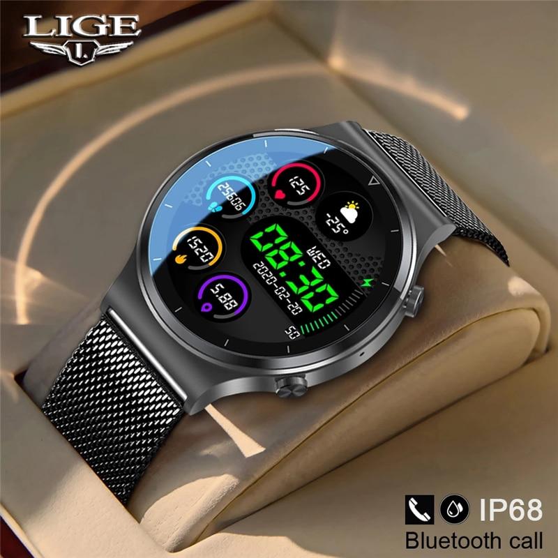 LIGE جديد ساعة ذكية الرجال معدل ضربات القلب ضغط الدم كامل شاشة تعمل باللمس الرياضة اللياقة البدنية ساعة بلوتوث لنظام أندرويد iOS ساعة ذكية
