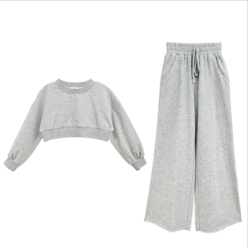 Teenage Girls Clothing Sets Teen Girls Sport Short Top+Wide Leg Pants Loose 2Pcs Set 6 8 10 12 14 16Year Children Clothing Suit