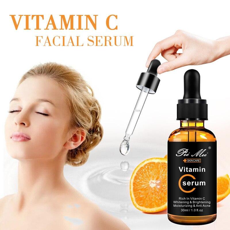 Vitamin C Whitening Facial Serum Moisturizing Acne Removal Anti-wrinkle Anti-Aging Firming Brightening Face Essence liquid 30ml недорого