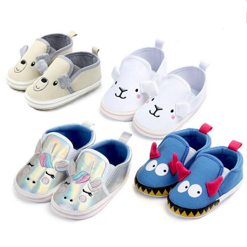 Newborn Baby Unisex Soft Sole Canvas Crib Shoes Anti-slip Sneaker Prewalker Cartoon Printed Shoes 0-