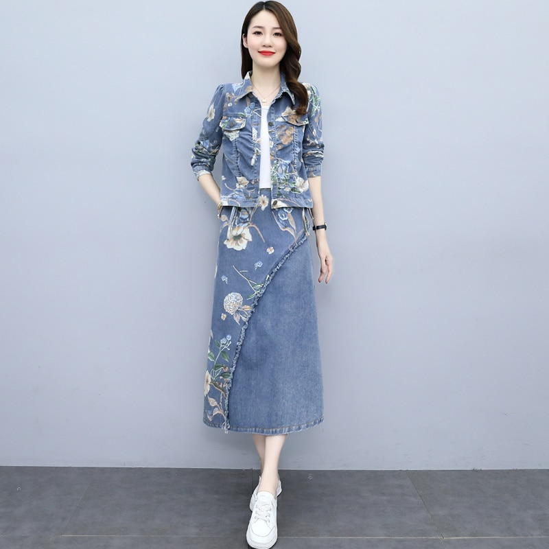 2021 Autumn New Elegant Simple Younger Peter Pan Collar Graceful And Fashionable Denim Printing Two-Piece Suit Skirt