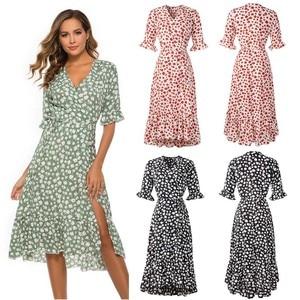 Dress Summer платье Womens Fashion Casual Sashes Split V Neck Wasit Holiday Print Dress Ladies Half Sleeve Party Beach Dress