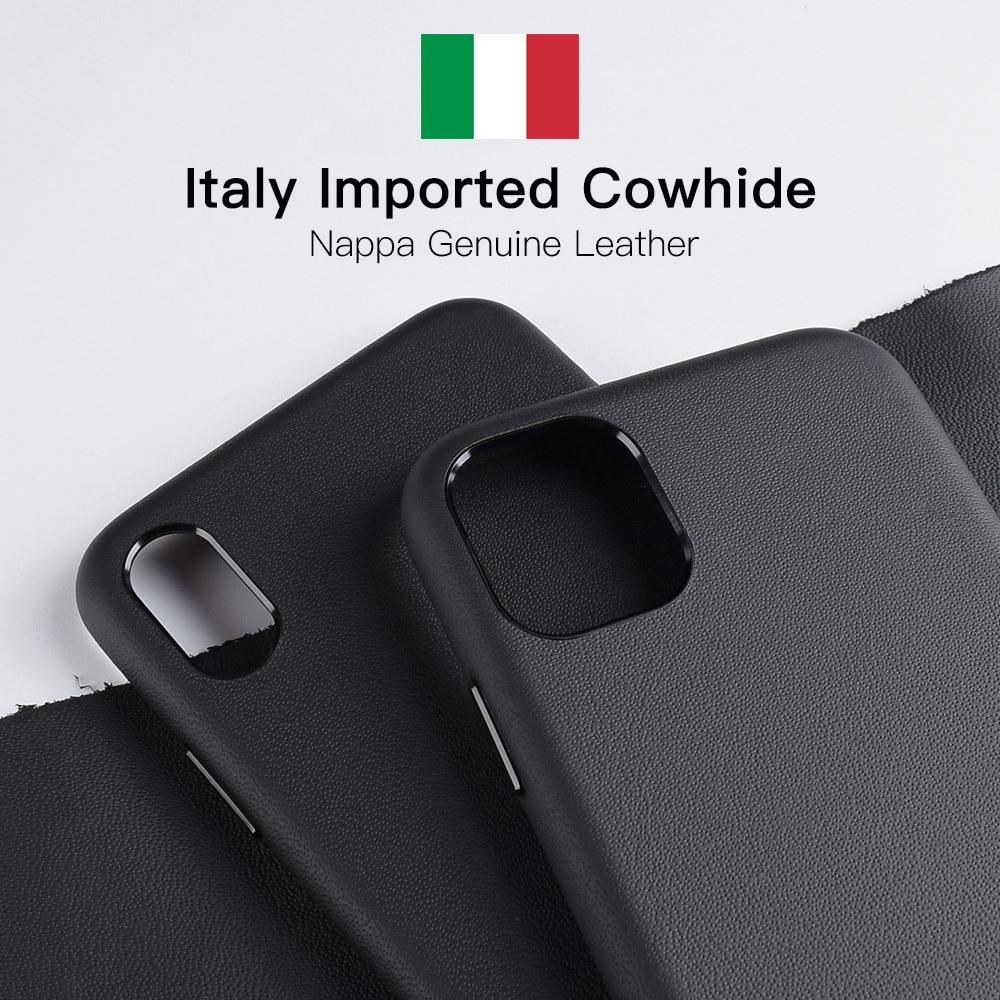Itália nappa couro caso do telefone para o iphone 11/11 pro max casos supercar caso de couro genuíno para o iphone xs max xr capa traseira