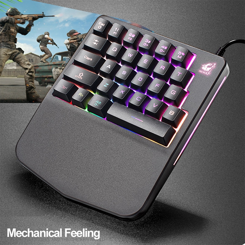 Teclado mecánico de una mano para juegos de escritorio profesional LED de mano izquierda Mini teclado para ordenador portátil teclado de juegos móviles
