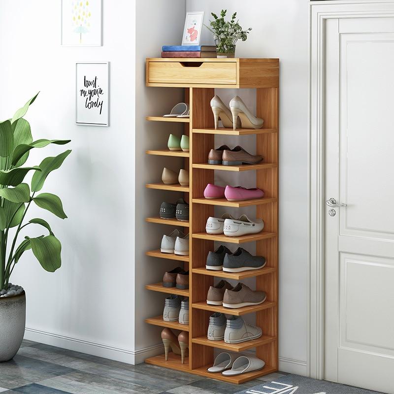 Zapatero de doble fila, organizador de madera para el hogar, muebles, estantería...